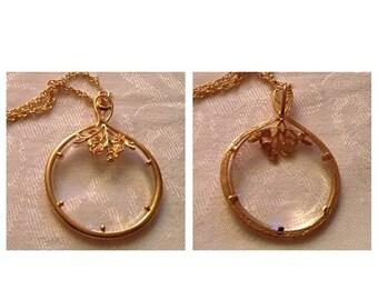 On Sale Vintage Goldtone Magnifying Glass Necklace