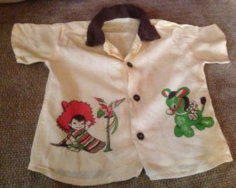 Vintage Boys Rockabilly Yellow and Tan Collar Shirt