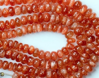AAA+ quality gemstone 8 inch long strand of SUNSTONE BEADS size 7.2 -- 7.8 mm approx