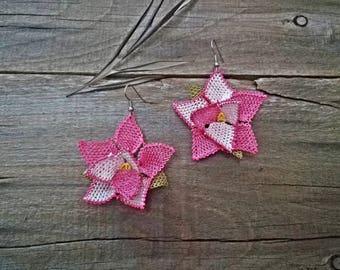 3D Turkish needle lace earrings Turkish crochet earrings Turkish oya earrings Pink green lace earrings Lace jewelry Flowers floral earrings