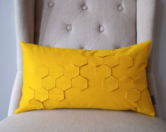 "Yellow Honey Comb 16""x24"" Pillow Cover"