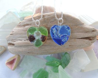 Heart of Sea Glass with Glitter, Authentic Sea Glass