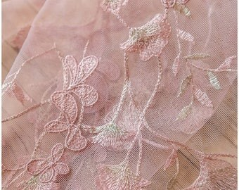 Old Rosé + gold flower lace fabric, Bridal lace Fabric, rosé lace fabric (L17-072)