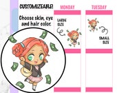 Callie - Pay Day Stickers, Money Stickers, Pay Stickers, Kawaii Stickers, Character Stickers, Hand drawn Stickers