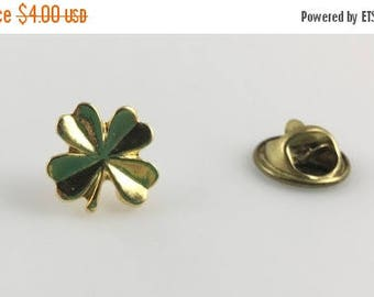 JULY 4TH SALE Four Leaf Clover, Pin, Brooch, Clover Pin, Good Luck Charm, Gold Tone, Small Pin, Tie Pin, Gold Clover, 1980s, Luck, Lucky Clo