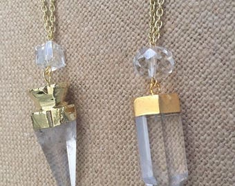 NECKLACE - Crystal Quartz Pendant - Gold dipped - Large Rondelle/ Square Bead Accents - Goldtone chain
