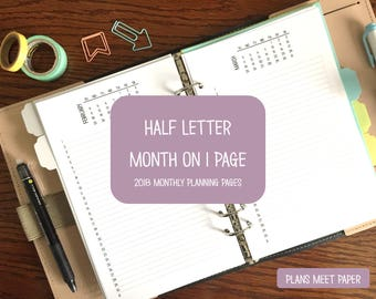 PRINTABLE Half Letter 2018 Month On One Page Inserts