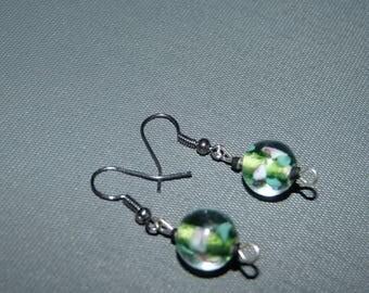 Earrings glass flower beads