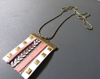 Glazed leather chain necklace & spike