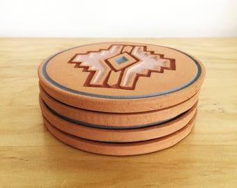 Vintage Handmade Terra Cotta Native American Symbol Coasters