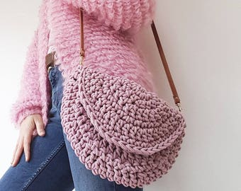 Pre Made pink crochet cotton half moon bag with shoulder strap.