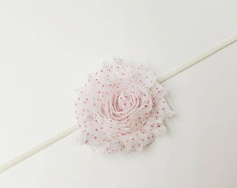 baby headband, shabby flower headband, flower headband, baby felower headband, infant headband, shabby flower, polka-dot shabby flower