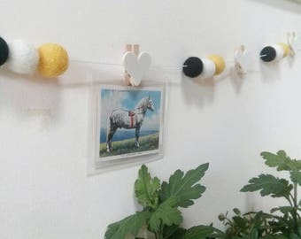 photo hanging garland, feltball garland, polaroid picture, photo display, postcards, home decor,