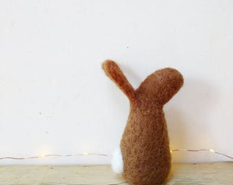 Star gazing rabbit, needle felted, gift, home decor, felted, wildlife, bunny wool British wool brown grey animal, gift for her,