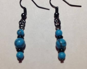 Turquoise and Black Fishhook Earrings, Jewelry