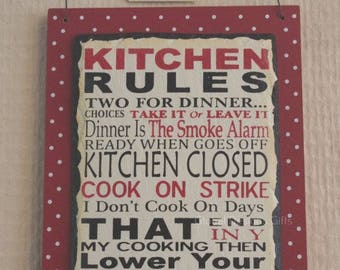Sign Plaque Kitchen Rules Funny Rules For The Kitchen Slate Red & Cream  F1550A