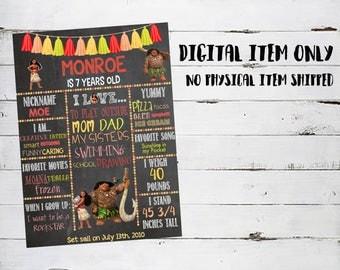 Moana Digital Birthday Sign *Chalkboard*Cute*Colorful