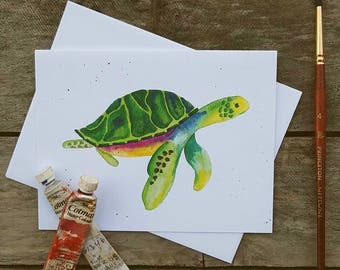 Sea Turtle Watercolor Greeting Card