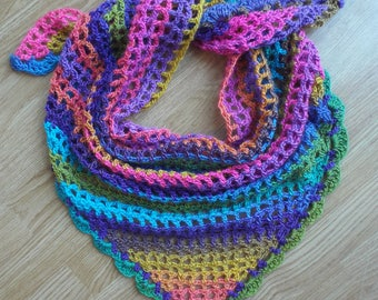 Hand-crocheted Triangle Festival Scarf