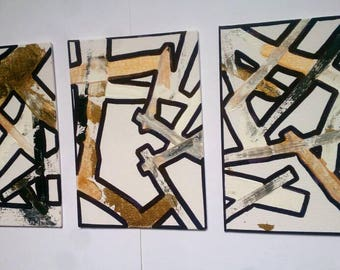 Abstract Painting Set of 3 Acrylic and Ink Original Metallic Art on Canvas Board 5'' x 7'' Small Wall Art Set of Wall Paintings
