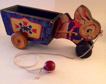 Vintage Fisher Price wooden pull toy Rabbit with cart 1950s