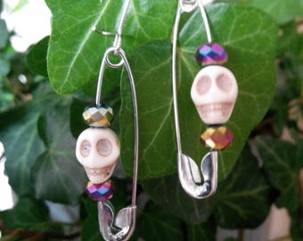 Minimalistic Beads and Skull Safety Pin Earrings