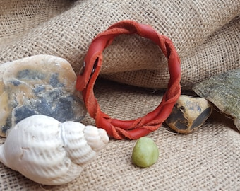 Twisted red leather bracelet