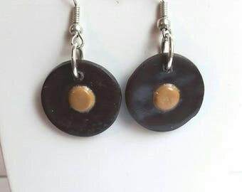 Earrings round Brown and gold