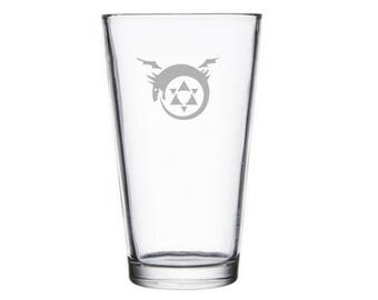 Ouroboros Glass, Anime Lover Gift, Anime Glass, anime cosplay accessories, FMA, Anime Gifts, Endless Circle of Life,  homonculous, homonculi