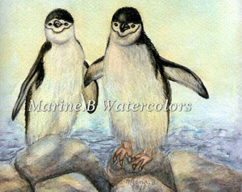 Watercolor Penguin Art Print 8 x 10 in