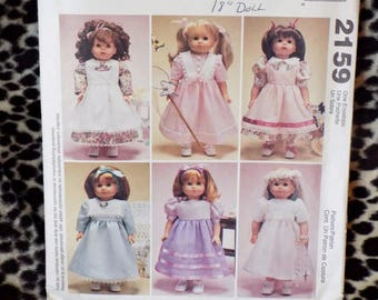 McCall's Crafts 2159 Gotz Time to Dream 18 inch Doll Clothes Pattern 6 Style Dresses Party Pinafore  Wedding Dress Veil  wardrobe  uncut
