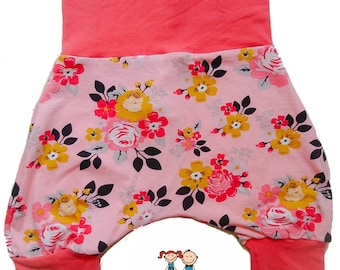 Grow-with-me, harem shorts, 6-36 months, flowers print, maxaloones