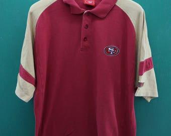 Vintage San Francisco 49ers National Football League NFL Shirt Embroidery Big Logo Half Button Sportswear Streetwear Polos Shirt Size XL