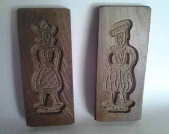 Pair of walnut cookie molds