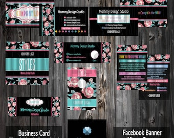 Business Marketing Bundle - HO APPROVED -Ho Fonts/Colors -Pink Teal Roses -Thank You Care Card, FB Banner/Album, Rack Dividers, Cash, Caught