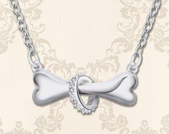 Silver Dog Bone Necklace | Silver Dog Necklace | Dog Jewelry | Dog Lover Gift | Dog Bone Pendant | Pet Dog Loss Memorial | Sterling Silver