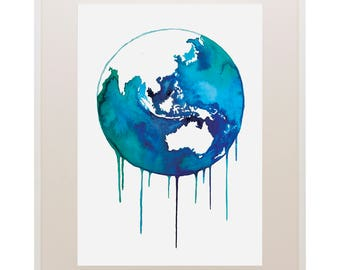 World Globe Watercolour Print // Art Print // Watercolour // Wall Art // Illustration