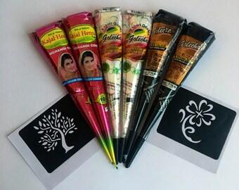 2 Organic Kajal Brown 2 White 2 Black Henna Cones + 2 Stencils Bundle Temporary Tattoo Body Art Ink Kit!! USA SELLER