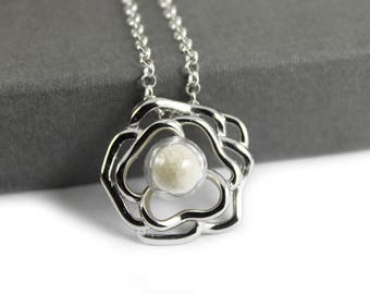 DIY Breast Milk Pearl Sterling Silver Rose Flower Necklace Kit, Do it Yourself DNA Breastmilk keepsake