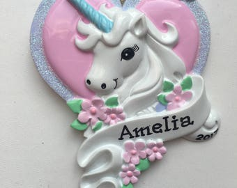 33% Off Rainbow Unicorn Personalized Christmas Ornament Baby's  First Christmas