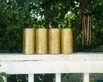 "Set of 4, Glitter Vase, Glass Vase, Centerpieces, Weddings, Cylinder, 7.5"""