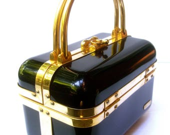 Sleek Italian Ebony Lucite Handbag by Baulotto  c 1970s