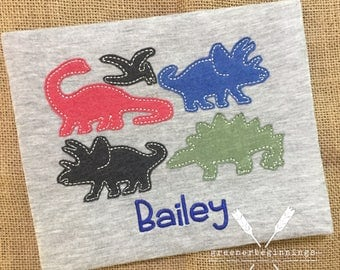 Dinosaur Applique Shirt / Boy Dinosaur Shirt / Dino Shirt / Dino Applique / Raggy Dinosaur / Dinosaur Birthday Shirt / Personalized Dino
