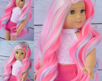 "Custom Doll Wig for 18"" American Girl Doll  - Heat Safe - Tangle Resistant - fits 10-11.5"" head size of doll GOTZ Hannah AND more Pink Blue"