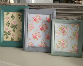 Set of three hand painted vintage wood shabby chic picture  photo frames