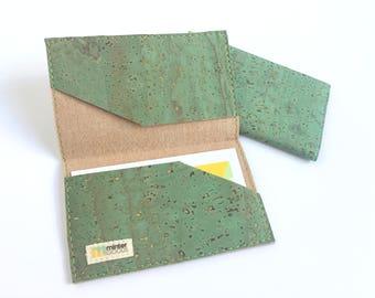 Cork card case, green cork fabric. Business card case. Card holder. Stocking stuffer.