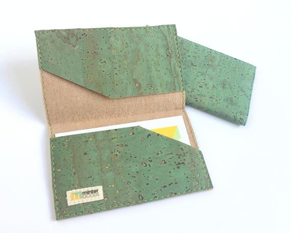 Cork card case green cork fabric business card case card like this item colourmoves