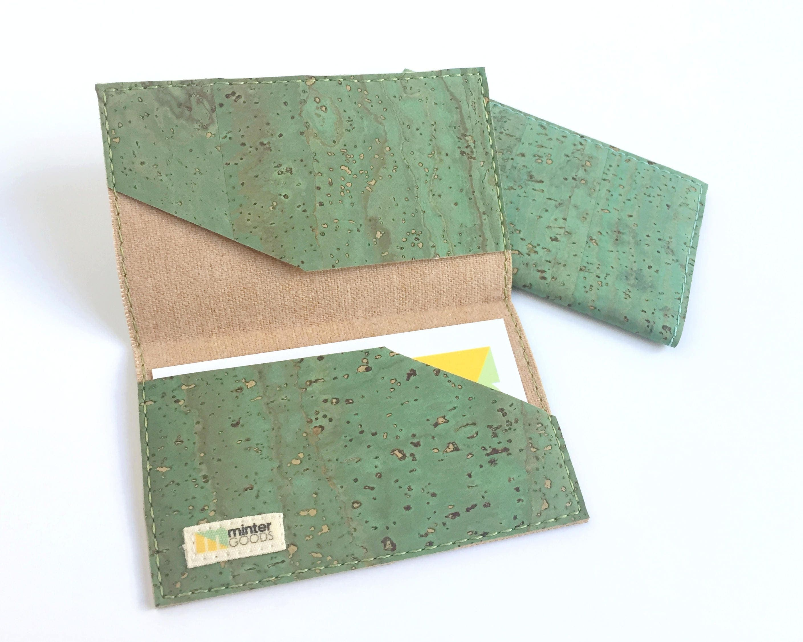 Cork card case green cork fabric business card case card holder cork card case green cork fabric business card case card holder stocking reheart Gallery