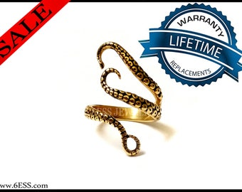 Gold Octopus Ring,Gold Tentacle Ring,Save Our Ocean,Gold Adjustable Ring,Adjustable Ring,Ocean Ring,Ocean Animal Jewelry,Open Ring,