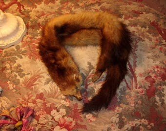 A small old fur, doll, collar, scarf,